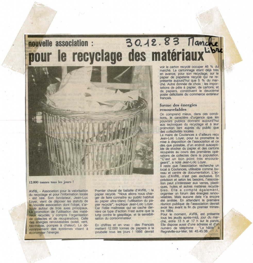 Nouvelle association recyclage papier